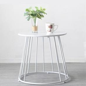 Simple Iron Art Bedroom Round Coffee Table, Color:White 55x55x52cm