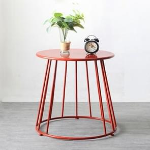 Simple Iron Art Bedroom Round Coffee Table, Color:Red 55x55x52cm