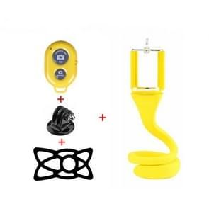 Luie mobiele telefoon Selfie stick statief creatieve camera beugel Desktop bed multifunctionele telefoon clip (geel)