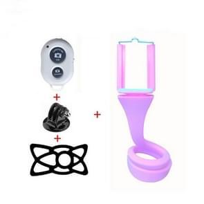 Luie mobiele telefoon Selfie stick statief creatieve camera beugel Desktop bed multifunctionele telefoon clip (roze)