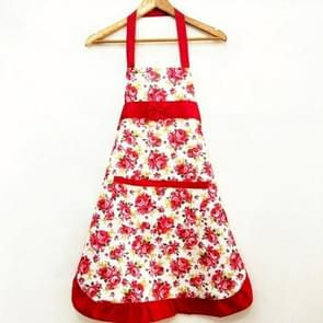 Household Rose Waterproof Kitchen Aprons Flower Cleaning Overalls(Red)
