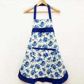 Household Rose Waterproof Kitchen Aprons Flower Cleaning Overalls(Blue)
