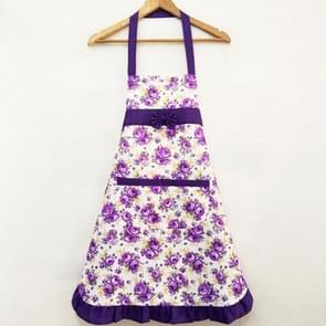 Household Rose Waterproof Kitchen Aprons Flower Cleaning Overalls(Purple)