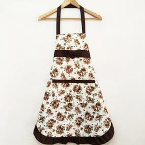 Household Rose Waterproof Kitchen Aprons Flower Cleaning Overalls(Brown)