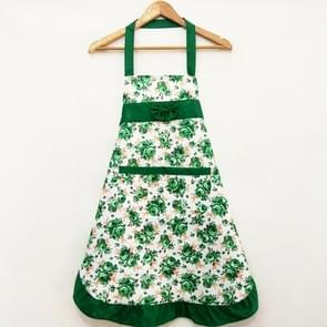 Household Rose Waterproof Kitchen Aprons Flower Cleaning Overalls(Green)