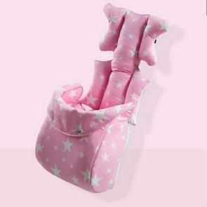 Fashion Baby Stroller Cushion Baby Seat Diaper Pad Stroller Mat Stroller Accessories(Pink with foot cover)