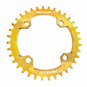 MOTSUV Round Narrow Wide Chainring MTB  Bicycle 104BCD Tooth Plate Parts Disk 32T(Yellow)