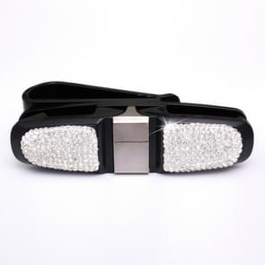 Diamond Mounted Rotating Car Glasses Clip Card Paper Holder Clips(White )