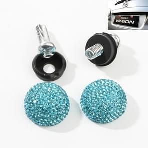 Auto License Plate modificatie schroefdop diamant-ingelegde Solid Seal anti-diefstal schroeven (meer blauw)