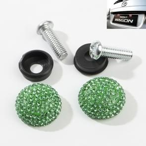 Auto License Plate modificatie schroefdop diamant-ingelegde Solid Seal anti-diefstal schroeven (groen)