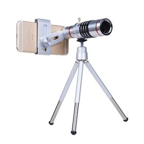 Outdoor Telescope Mobile Phone Accessories Shooting Telephoto Lens with Universal Metal Clip(12X)