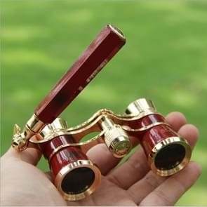 Metal 3 X 25 Lady With Handle Chrome Double Cylinder Telescope(Wine red )