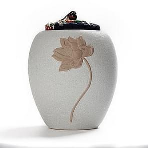 Middellange steengoed zwart aardewerk Seal besparing thee kan thee pot (wit)
