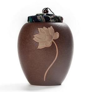 Medium Stoneware Black Pottery Seal Saving Tea Can Tea Pot(Brown )