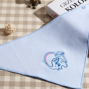 Printed Double-sided Breathable Triangle Towel Baby Cartoon Pattern Saliva Towel(Blue Elephant )