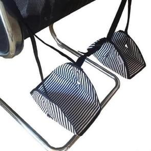 Voet hangmat voetpad voor lange afstand vliegreizen (zwarte en witte strepen)