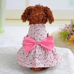 Puppy huisdier hond kleding koele zomer kat hond Bow Floral rok  maat: S (roze)