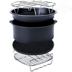 5 in 1 Fryer Accessory Set Multifunctional Air Fryer Set Grill Pizza Pan Five-piece set (round baking pan)