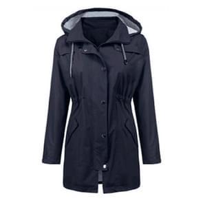 Casual vrouwen waterdichte taille Hooded lange vacht  maat: L (marineblauw)