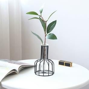 Smeedijzeren Hydroponic groen gedroogde bloem glas bloem invoegen decoratie zonder nep bloemen (zwart)