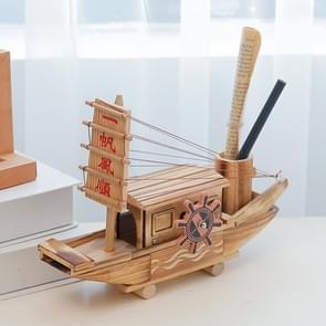 Creative Wooden Ship Model Ornaments Sailing Music Box