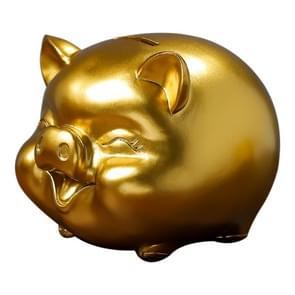 Cartoon Gold Cute Pig Piggy Bank Resin Crafts Ornaments