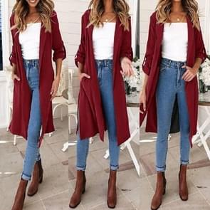 Autumn and Winter Women Solid Color Seven-point Sleeve Casual Windbreaker Jacket, Size: M(Wine Red)