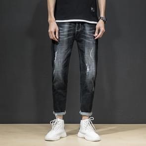 Lente en herfst mannen slanke zwarte casual persoonlijkheid gaten trendy voeten jeans  grootte: 28 (zwart)