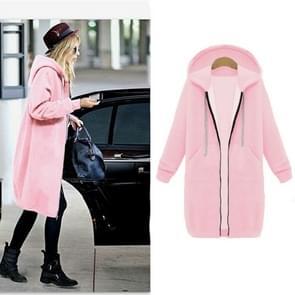 Vrouwen Hooded lange mouwen trui in de lange vacht  maat: M (roze)
