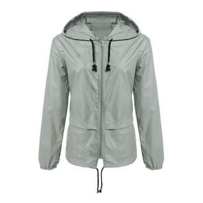 Rits hoodie lichtgewicht buitenwater dichte regenjas jasje shirt vrouwen jas  maat: L (lichtgrijs)