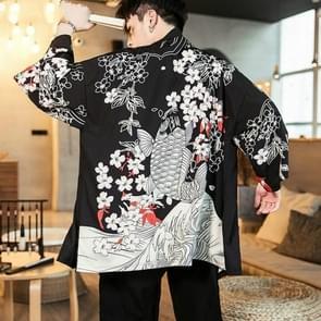 Kimono Cardigan Feather geweven dunne vacht gewaad Hanfu  grootte: 4XL (squid zwart)