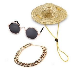 Fashion Cool Funny Pet Accessories Sunglasses Vintage Straw Hat Dog Gold Necklace Bell Collar Cat Tie, Size: Three-Piece