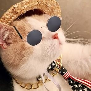 Fashion Cool Funny Pet Accessories Sunglasses Vintage Straw Hat Dog Gold Necklace Bell Collar Cat Tie, Size:  Four-Piece
