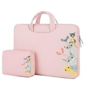 Cartoon Soft PU Leather Portable Waterproof Handheld Notebook Carrying Case with Power Bag, Size: 14 inch(Dog Pink)