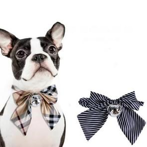 2 PCS Small Medium-sized Bow Tie Teddy Dog Bell Bow Tie, Size:  One Size(Blue Stripe)