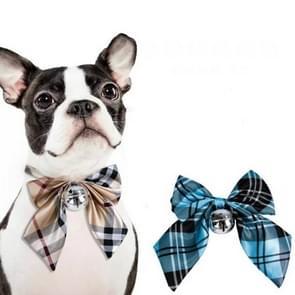 2 PCS Kleine middelgrote Vlinderdas Teddy Dog Bell Vlinderdas  Maat: One Size (Blue Grid)