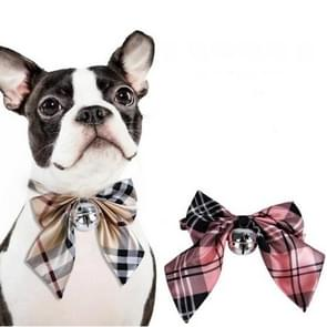 2 PCS Small Medium-sized Bow Tie Teddy Dog Bell Bow Tie  Size:  One Size(Pink Grid)