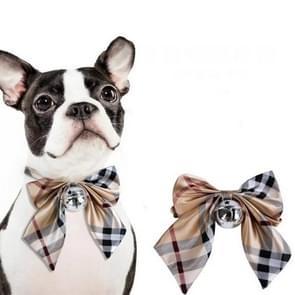 2 PCS Kleine Middelgrote Vlinderdas Teddy Dog Bell Tie  Grootte: One Size (kaqih Grid)