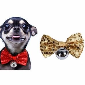 2 PCS Creative Pet Collar Opknoping Pailletten Kerst Bow Bells (Geel)