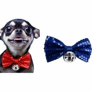 2 PCS Creative Pet Collar Opknoping Pailletten Kerst Bow Bells(Blauw)