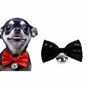 2 PCS Creative Pet Collar Opknoping Pailletten Kerst Bow Bells (Zwart)