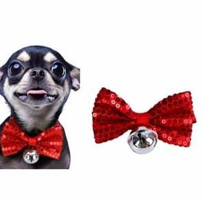 2 PCS Creative Pet Collar Opknoping Pailletten Kerst Bow Bells (Rood)