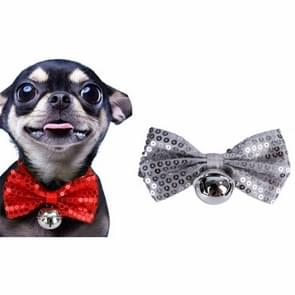 2 PCS Creative Pet Collar Hanging Sequins Christmas Bow Bells(Silver)