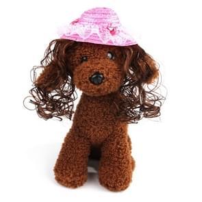 Pet Accessories Pet Princess Hat Sun Hat Teddy Wig Hat(Diamond)