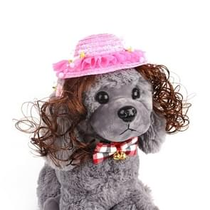 Pet Accessories Pet Princess Hat Sun Hat Teddy Wig Hat(Rose)