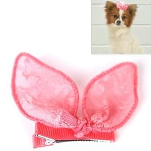Pet Accessories Cute Pet Hair Clips Rabbit Ears Dog Hair Clips(Pink)
