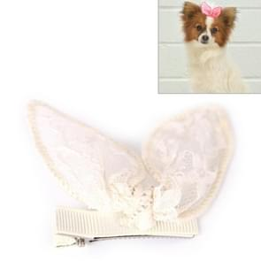 Pet Accessories Cute Pet Hair Clips Rabbit Ears Dog Hair Clips(Beige)