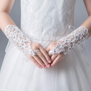 Lace-studded Children Wedding Dress Fingerless Gloves, Size:One-Size(White)