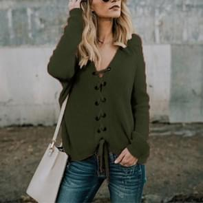 Sexy V-Neck Buckle Rope Long-Sleeved Knit Sweater, Size: XL(Army green)