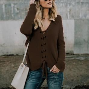 Sexy V-Neck Buckle Rope Long-Sleeved Knit Sweater, Size: XXL(Brown)